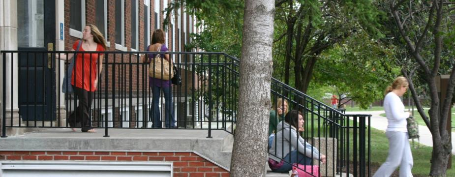 Students on building steps
